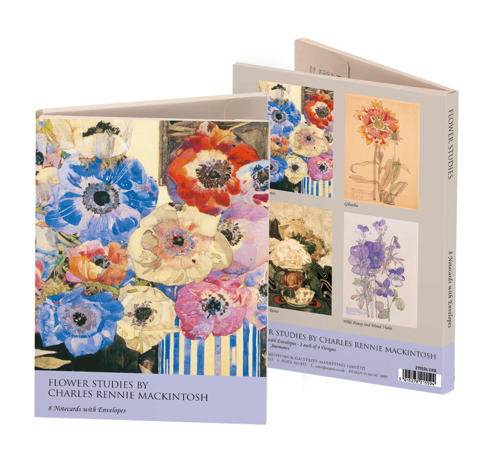 Charles Rennie Mackintosh Notelets 'Anemones', 'Gilardia', 'White Roses', 'Wild Pansy and Wood Violet' 2 x 4 designs