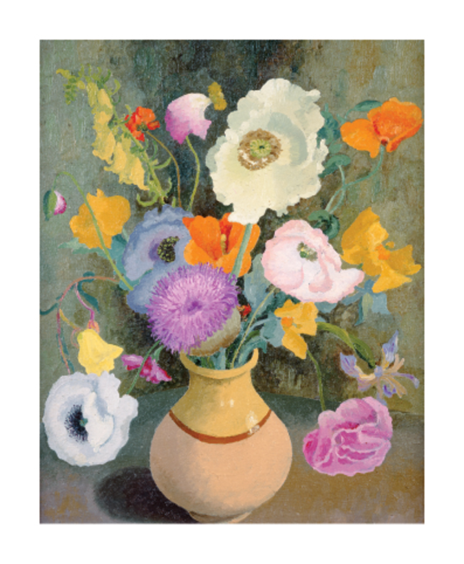 'Poppies and Sweet Peas' by Cedric Morris (1889 - 1982) (A833) *