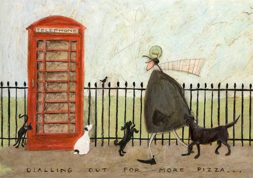 Sam toft art cards dialling out for more pizza by sam toft c067 m4hsunfo