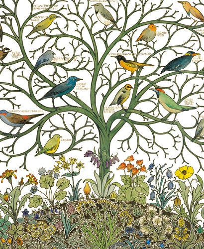 Birds of Many Climes textile design by C.F.A Voysey  (V063)