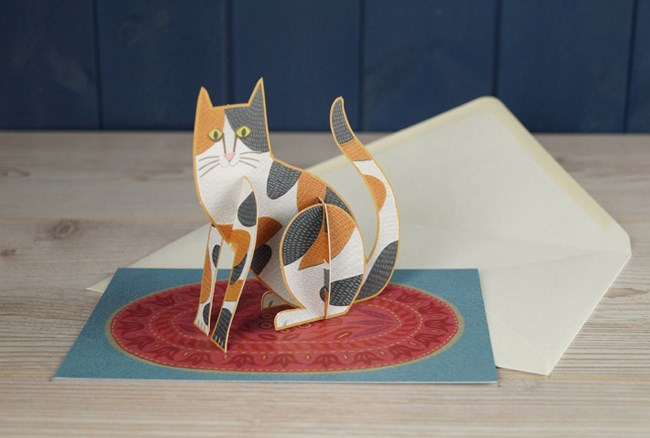 'Pop-Out Cat' Die-cut art card by Alice Melvin