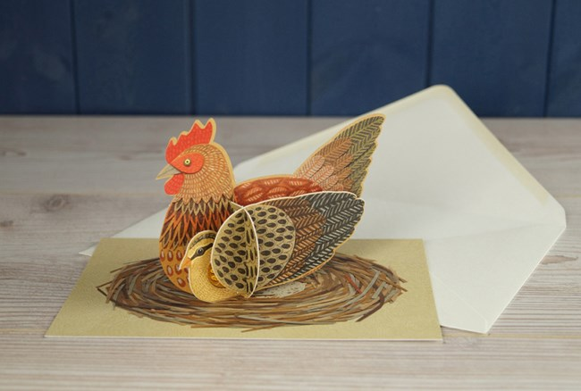 'Pop-Out Chicken' Die-cut art card by Alice Melvin