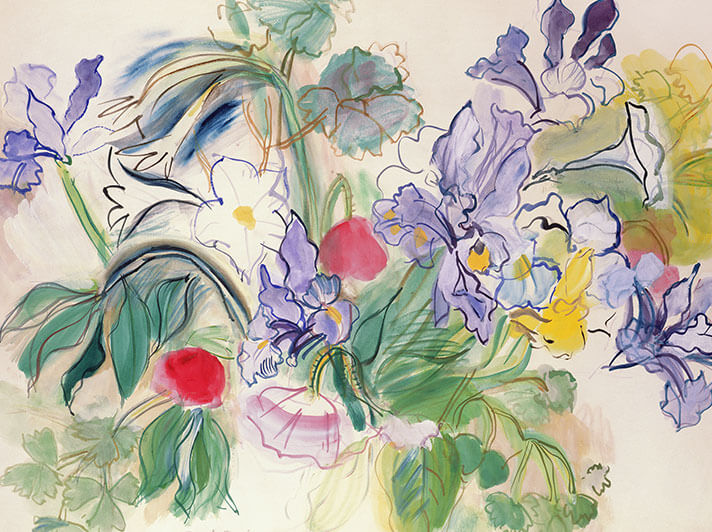 'Bouquet of Irises and Red Poppies' c1948 by Raoul Dufy (W111) * NEW for 2021